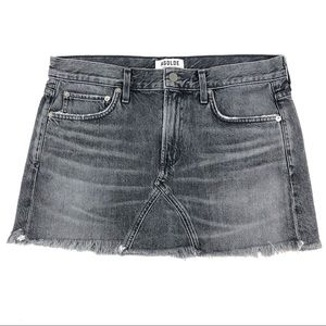 Agolde Mini Jean Skirt Gray Denim Raw Hem USA